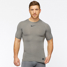 Белье Nike Pro Shortsleeve Compression Top - Carbon Heather/Black/Black